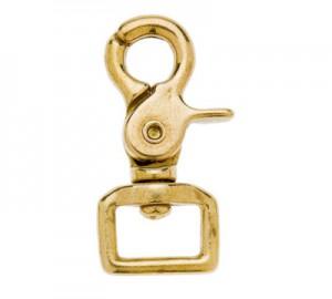 Mosqueton gancho doble paso plano dorado 25mm